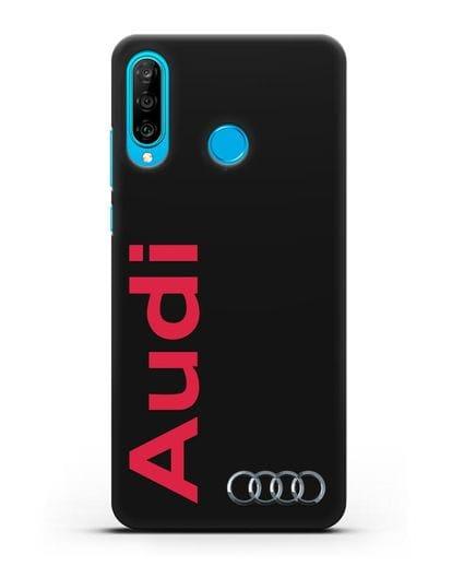 Чехол с надписью Audi и логотипом силикон черный для Huawei P30 Lite