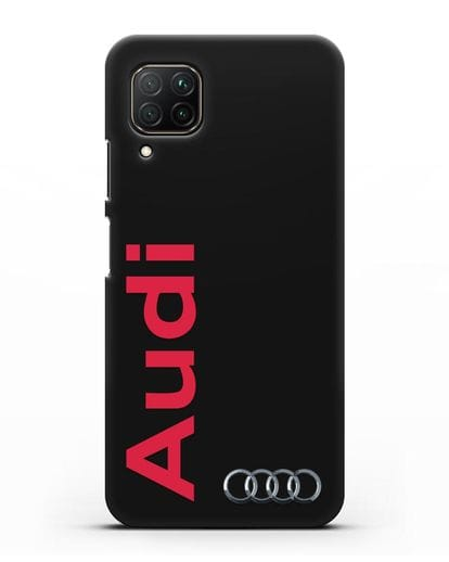 Чехол с надписью Audi и логотипом силикон черный для Huawei P40 lite