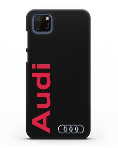 Чехол с надписью Audi и логотипом силикон черный для Huawei Y5P