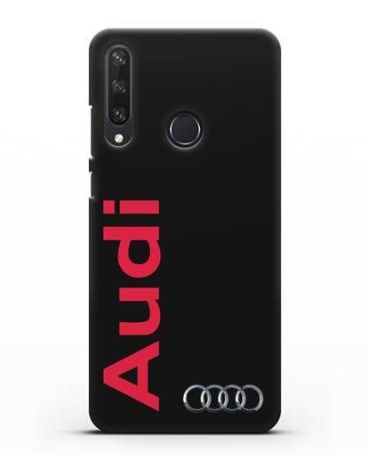Чехол с надписью Audi и логотипом силикон черный для Huawei Y6P