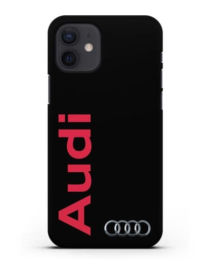 Чехол с надписью Audi и логотипом силикон черный для iPhone 12