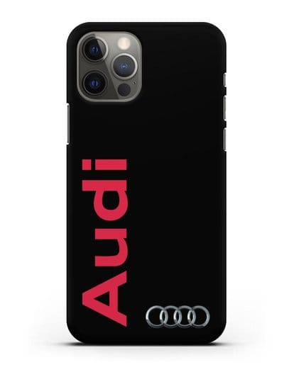Чехол с надписью Audi и логотипом силикон черный для iPhone 12 Pro