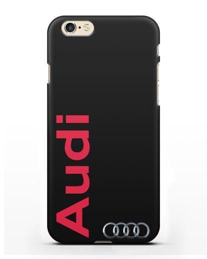 Чехол с надписью Audi и логотипом силикон черный для iPhone 6