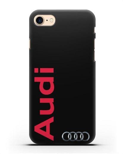 Чехол с надписью Audi и логотипом силикон черный для iPhone 8