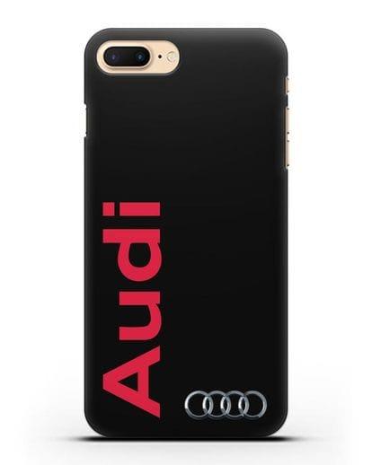 Чехол с надписью Audi и логотипом силикон черный для iPhone 7 Plus