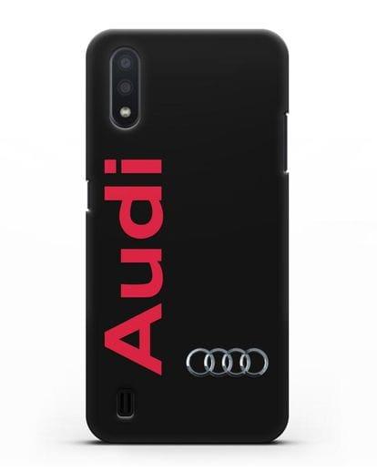 Чехол с надписью Audi и логотипом силикон черный для Samsung Galaxy A01 [SM-A015F]