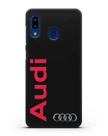 Чехол с надписью Audi и логотипом силикон черный для Samsung Galaxy A20 [SM-A205FN]