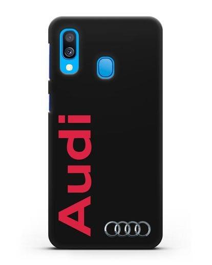 Чехол с надписью Audi и логотипом силикон черный для Samsung Galaxy A40 [SM-A405F]