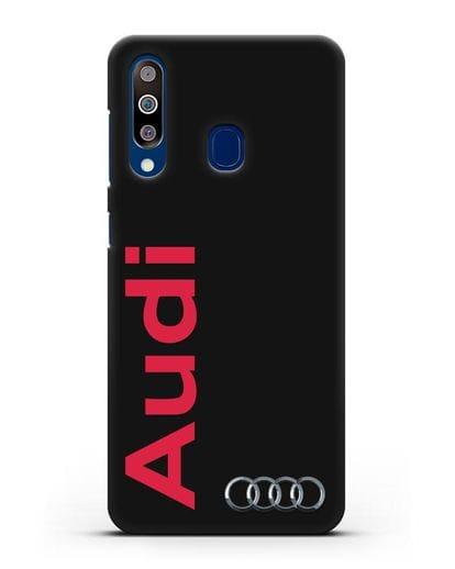 Чехол с надписью Audi и логотипом силикон черный для Samsung Galaxy A60 [SM-A606F]