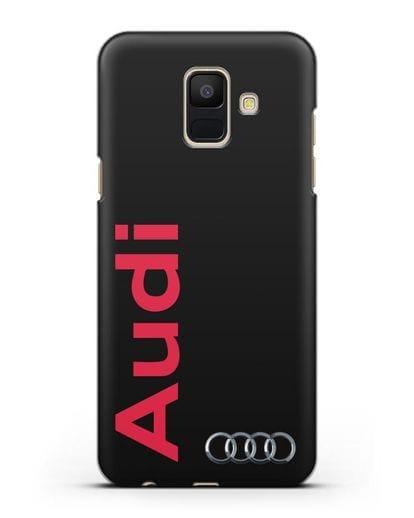 Чехол с надписью Audi и логотипом силикон черный для Samsung Galaxy A6 2018 [SM-A600F]
