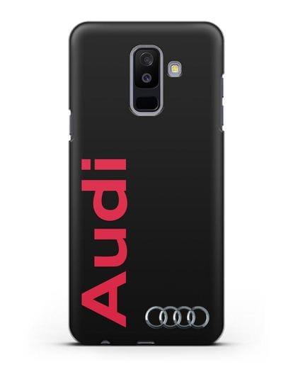 Чехол с надписью Audi и логотипом силикон черный для Samsung Galaxy A6 Plus 2018 [SM-A605F]