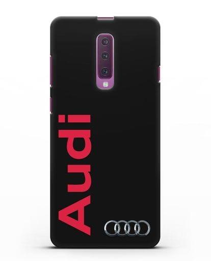 Чехол с надписью Audi и логотипом силикон черный для Samsung Galaxy A90 [SM-A908N]