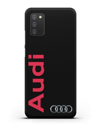 Чехол с надписью Audi и логотипом силикон черный для Samsung Galaxy A02s [SM-A025F]