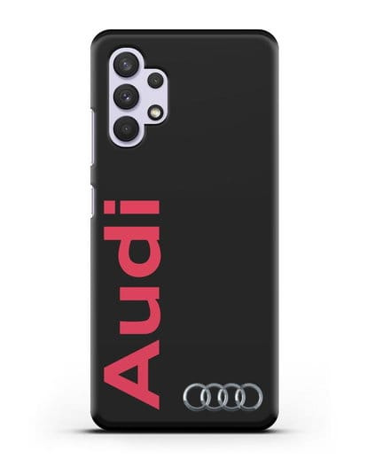 Чехол с надписью Audi и логотипом силикон черный для Samsung Galaxy A32 4G [SM-A325F]