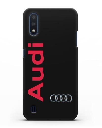 Чехол с надписью Audi и логотипом силикон черный для Samsung Galaxy M01 [SM-M015F]