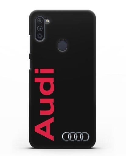 Чехол с надписью Audi и логотипом силикон черный для Samsung Galaxy M11 [SM-M115F]