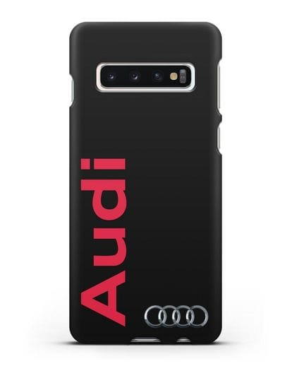 Чехол с надписью Audi и логотипом силикон черный для Samsung Galaxy S10 Plus [SM-G975F]