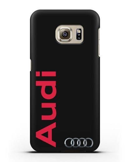 Чехол с надписью Audi и логотипом силикон черный для Samsung Galaxy S6 Edge [SM-G925F]