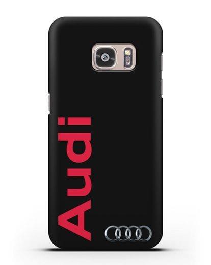 Чехол с надписью Audi и логотипом силикон черный для Samsung Galaxy S7 Edge [SM-G935F]