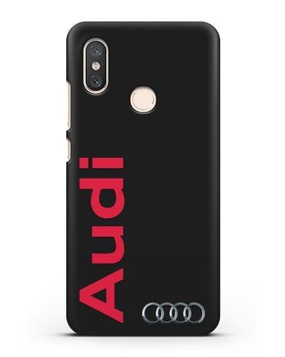 Чехол с надписью Audi и логотипом силикон черный для Xiaomi Mi 8