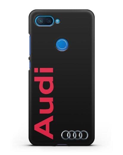 Чехол с надписью Audi и логотипом силикон черный для Xiaomi Mi 8 Lite
