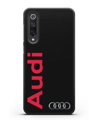 Чехол с надписью Audi и логотипом силикон черный для Xiaomi Mi 9 SE