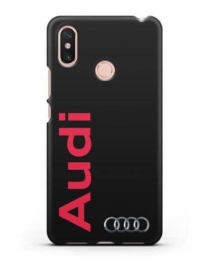 Чехол с надписью Audi и логотипом силикон черный для Xiaomi Mi Max 3