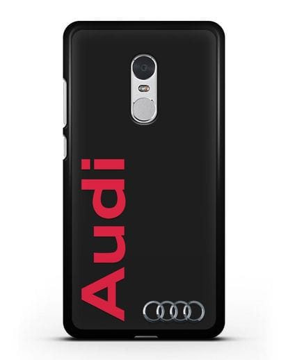 Чехол с надписью Audi и логотипом силикон черный для Xiaomi Redmi Note 4X