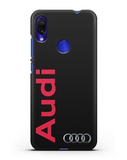 Чехол с надписью Audi и логотипом силикон черный для Xiaomi Redmi Note 7