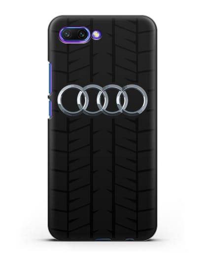 Чехол с логотипом Audi c протектором шин силикон черный для Honor 10