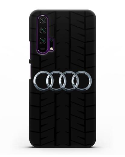 Чехол с логотипом Audi c протектором шин силикон черный для Honor 20 Pro