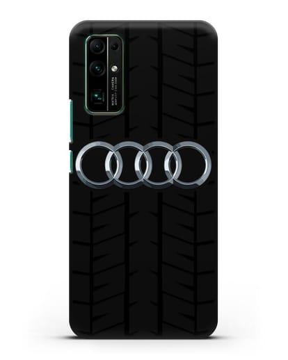 Чехол с логотипом Audi c протектором шин силикон черный для Honor 30