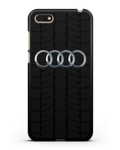 Чехол с логотипом Audi c протектором шин силикон черный для Honor 7А