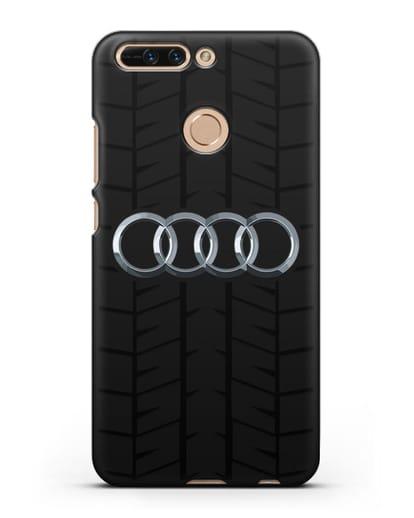 Чехол с логотипом Audi c протектором шин силикон черный для Honor 8 Pro