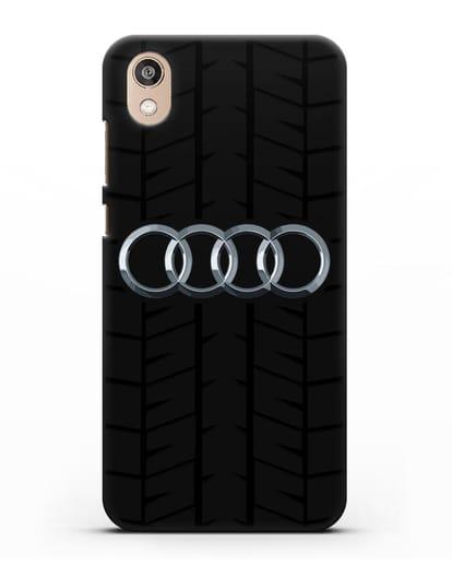 Чехол с логотипом Audi c протектором шин силикон черный для Honor 8S