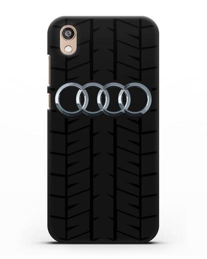 Чехол с логотипом Audi c протектором шин силикон черный для Honor 8S Prime