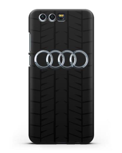 Чехол с логотипом Audi c протектором шин силикон черный для Honor 9