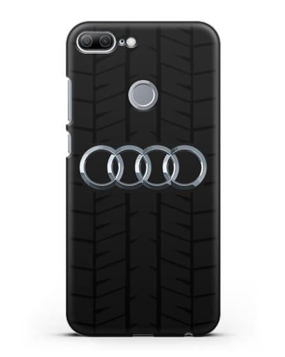 Чехол с логотипом Audi c протектором шин силикон черный для Honor 9 Lite