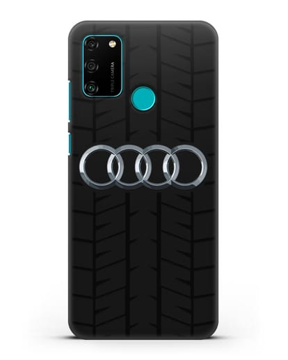 Чехол с логотипом Audi c протектором шин силикон черный для Honor 9A
