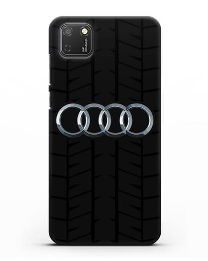 Чехол с логотипом Audi c протектором шин силикон черный для Honor 9S
