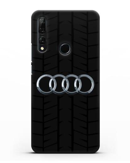 Чехол с логотипом Audi c протектором шин силикон черный для Honor 9X