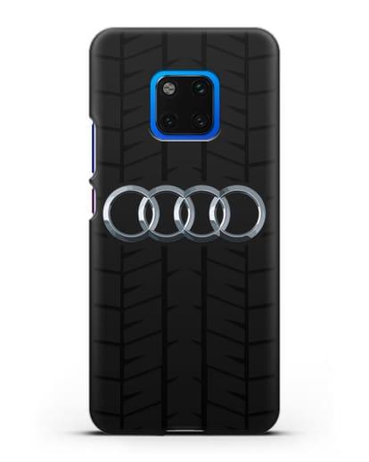 Чехол с логотипом Audi c протектором шин силикон черный для Huawei Mate 20 Pro