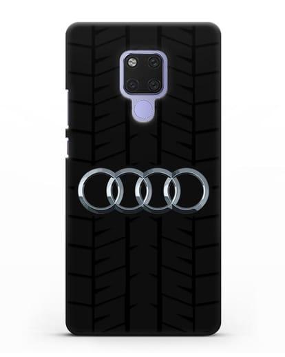 Чехол с логотипом Audi c протектором шин силикон черный для Huawei Mate 20X