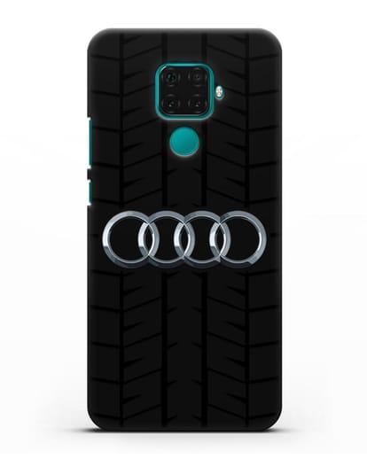 Чехол с логотипом Audi c протектором шин силикон черный для Huawei Mate 30 Lite