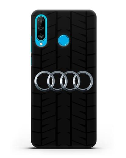 Чехол с логотипом Audi c протектором шин силикон черный для Huawei P30 Lite