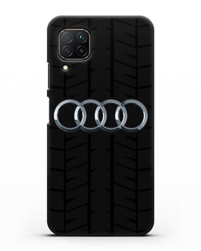 Чехол с логотипом Audi c протектором шин силикон черный для Huawei P40 lite
