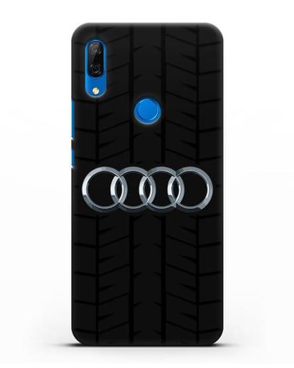 Чехол с логотипом Audi c протектором шин силикон черный для Huawei P Smart Z