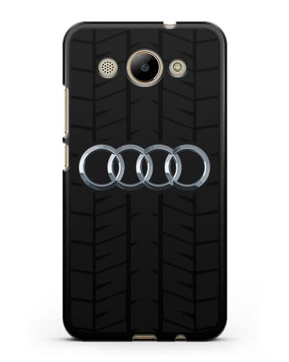 Чехол с логотипом Audi c протектором шин силикон черный для Huawei Y3 2017