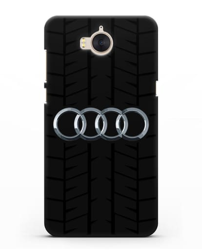 Чехол с логотипом Audi c протектором шин силикон черный для Huawei Y5 2017
