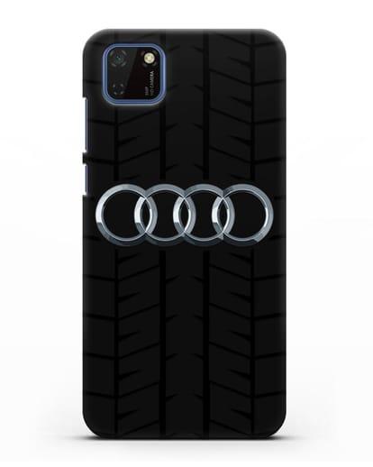 Чехол с логотипом Audi c протектором шин силикон черный для Huawei Y5P